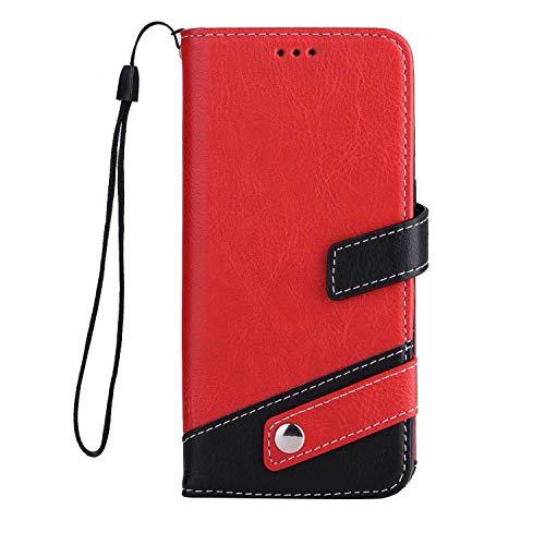 iPhone X/iPhone XS ケース OMATENTI 手帳型ケース PUレザー 磁石タイプ ストラップホール付き 全面保護 液晶保護 耐衝撃 財布型 耐久性 薄型 スマホケース, 赤