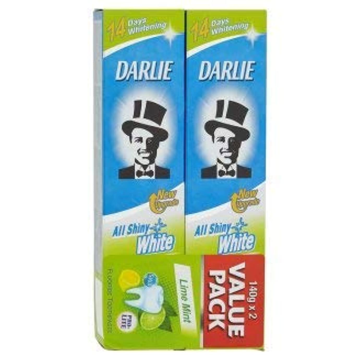DARLIE 2つの電力可溶性汚れや緩やかな歯のホワイトニングを提供する新しいデュアルホワイトニングシステム - 全光沢のある白ライムミント140グラム値パックX2を歯磨き粉