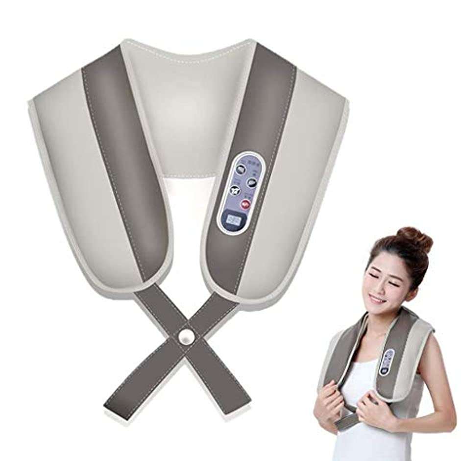 セッティング民族主義地震電動ネックマッサージャー、温熱子宮頸マッサージャー、リラックスネック、肩、背中、ウエストマッサージ筋肉、痛みと疲労を和らげる