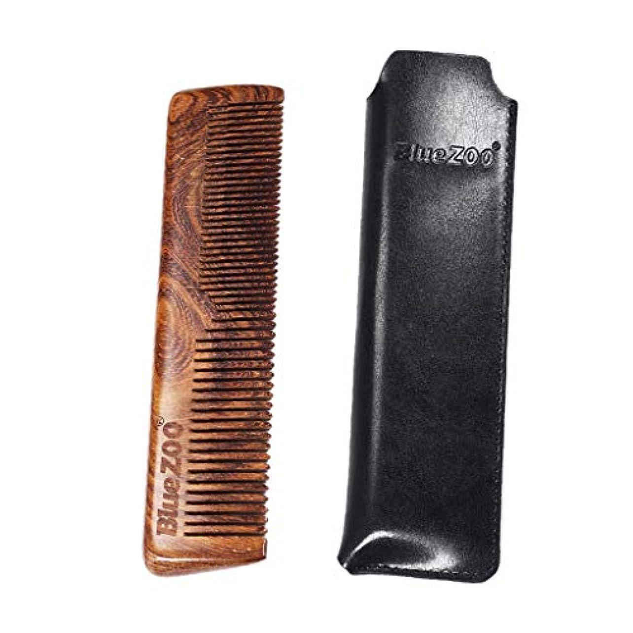 壊れたスリラーリーチToygogo 手作りサンダルウッド木製男性のひげ口ひげ顔の毛の櫛グルーミングスタイリングシェーピングツールと男性用理容室用PUケース - ブラック