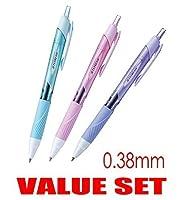 三菱鉛筆 油性ボールペン ジェットストリーム 0.38mm 3本セット ブルー ライトピンク ラベンダー