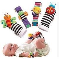 Miss。AJ 4pcs Baby Rattles、かわいいベルベット動物Wrist Rattles and足ファインダーセット、Developmentalソフトおもちゃ人形for Infants