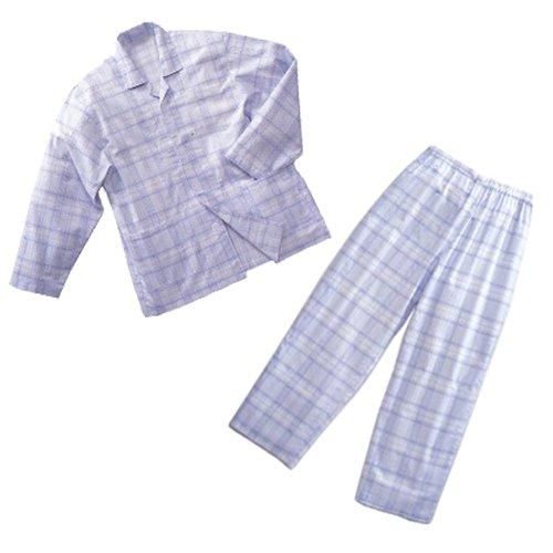 丸光産業 長袖綿パジャマ 紳士用 (身長175-185cm 胸囲96-104cm) サックス