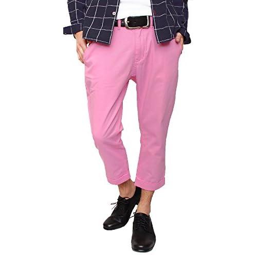 (ハイクオリティプロダクト)High quality product メンズ クロップドカラーチノパンツ 7分丈パンツ カラーパンツ テーパード スリム タイト ロールアップパンツ 半端丈 カラーチノパン 春夏 ピンク XLサイズ