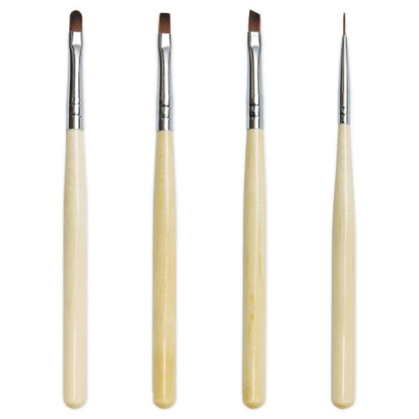 熱狂的な任意形状ジェルネイル《使い勝手の良い木目ブラシ》GEL BRUSH SET ジェルブラシセット(4種類パック)