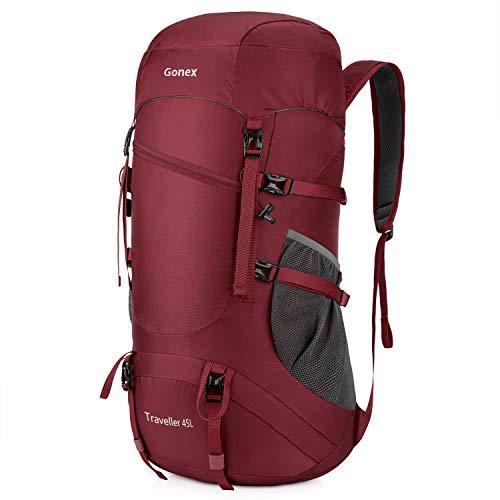 8082f19f2aca Gonex 登山リュック 45L 大容量 折り畳みリュック 登山バックパック ハイキングバッグ リュックサック 旅行用アウトドアリュック 防水 軽量 バッグ (赤) 材質:210D ...