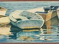 Chesapeake 川ショアヴィンテージ壁紙ボーダーレトロなデザインの行ボート、ロール15' X 7