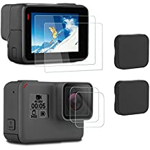 iTrunk Screen Protector Compatible for GoPro Hero 7 Black HD (2018)/6/5, Ultra-Clear Tempered-Glass LCD Screen Protector & Lens Cover Cap Compatible for GoPro Hero7 HD (2018) Hero6 Hero5 Action Camera (2pcs)