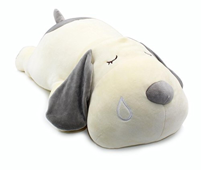 スーパソフト 犬 ワンちゃん 眠る姿 抱き枕 クッション ぬいぐるみ ふわふわ グレー 灰色 60CM
