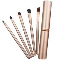 MEI1JIA 5 PCSは、アルミニウム管(ブラック)とアイズメイクブラシセットハンドル (Color : Gold)