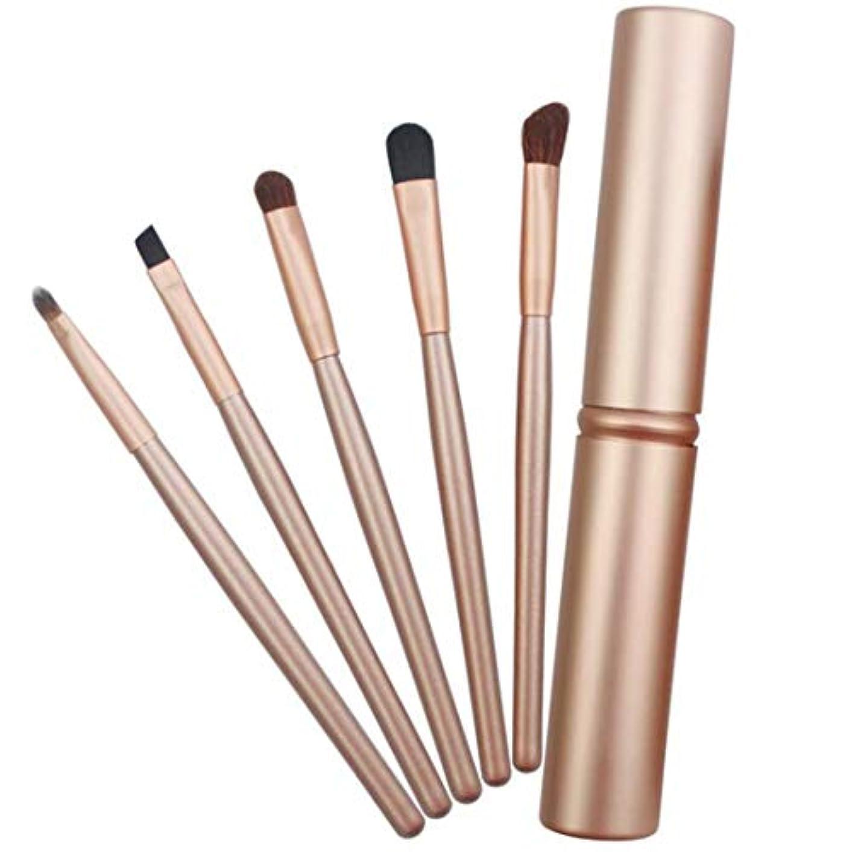 酔う満了蒸MEI1JIA QUELLIA 5 PCSは、アルミニウム管(ブラック)とアイズメイクブラシセットハンドル (色 : Gold)