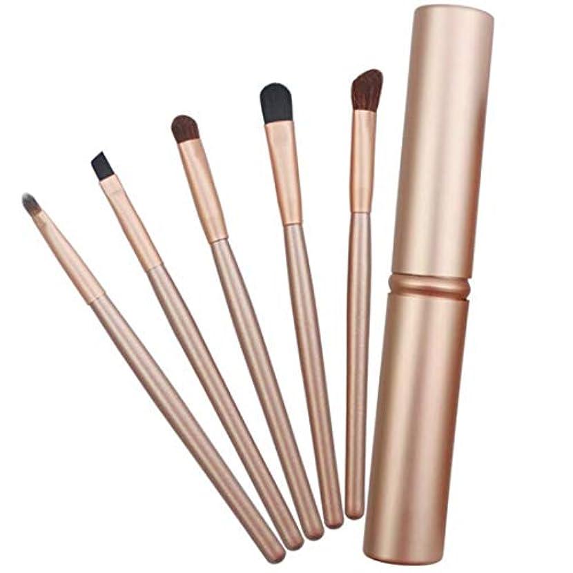 日焼け新聞有利MEI1JIA QUELLIA 5 PCSは、アルミニウム管(ブラック)とアイズメイクブラシセットハンドル (色 : Gold)