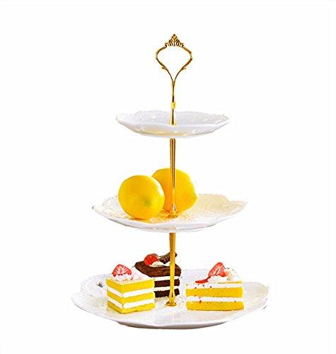 (アイム)iiniim ケーキ スタンド プレート 3段 セット おしゃれ アフタヌーンティー パーティー フルーツ トレー 金枠プレート皿 ゴールド 1セット