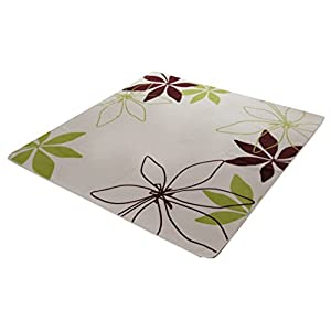 イケヒコ ラグ カーペット 2畳 洗える 花柄 リーフ柄 『WSパキラIT』 グリーン 約185×185cm (ホットカーペット対応) ♯9810257