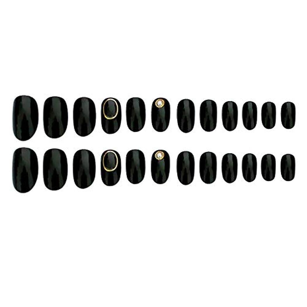 スライスモーテルダースCUTICATE 24枚入 ネイルチップ 夏の 無地 透明 ゼリー 全5色 可愛い ウェディング ブライダル 優雅 短い - ブラック