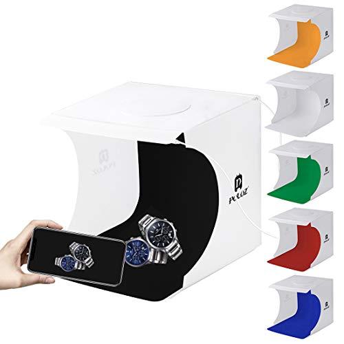 SAKARA 撮影ボックス 22*23*24cm小型 折り畳み式 簡単に組み立てる USB給電 簡易撮影スタジオ 六色の背景布 2行20pcsのLEDライト搭載 撮影キット