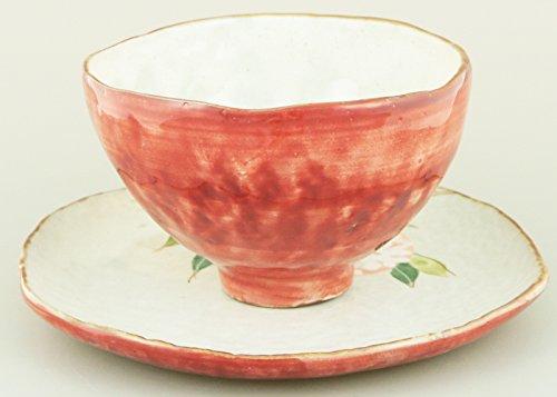 舞陶館 陶碗皿 色釉紅花 43239