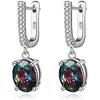 Sterling Silver Rainbow Cubic Zirconia Clip on Hoop Earrings