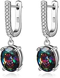 Sterling Silver Rainbow Cubic Zirconia Clip on Hoop Earrings