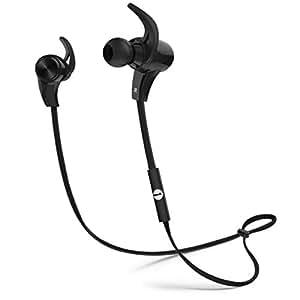 1byone Bluetooth 4.1 ステレオイヤホン ワイヤレス ヘッドホンセット 高音質 防汗防滴 スポーツ仕様 外れにくい 内蔵式マイク ハンズフリー通話可能 イヤーフック付き ブラック