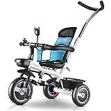 三輪車- 青い赤ちゃん三輪車、安全席/収納バスケット/フットペダル、年齢18ヶ月から5歳で自転車に乗る三輪車