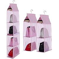 Hangingハンドバッグオーガナイザー、Ayans Detachableクローゼットオーガナイザーバッグ、スカーフ、服、4用シェルフHangingバッグストレージホルダーforワードローブ&クローゼット ピンク
