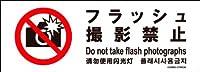 標識スクエア 「 フラッシュ撮影禁止 」 ヨコ・ミニ【ステッカー シール】 140x50㎜ CFK8038 20枚組