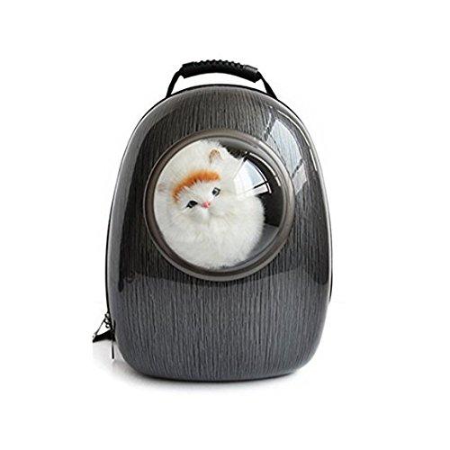 Iiomise ペット バッグ ペット用キャリーバッグ 宇宙船カプセル型ペットバッグ 犬猫兼用 ペットバッグ ネコ ニャンコ 犬 ペット用品 リュックサック 人気ペット鞄 (PC-ブラック)