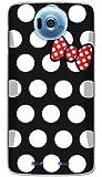 ドコモ ディズニーモバイル Disney mobile N-03E ケース カバー クリア ハード 【ドット 016】 NTT docomo ブラック × ホワイト リボン 2