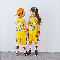 ジャージーNBAロサンゼルスレイカーズ半袖ショーツTシャツジェームズカレーバスケットボールに適した子供85-165 cm,23yellow3,M(130-140CM)