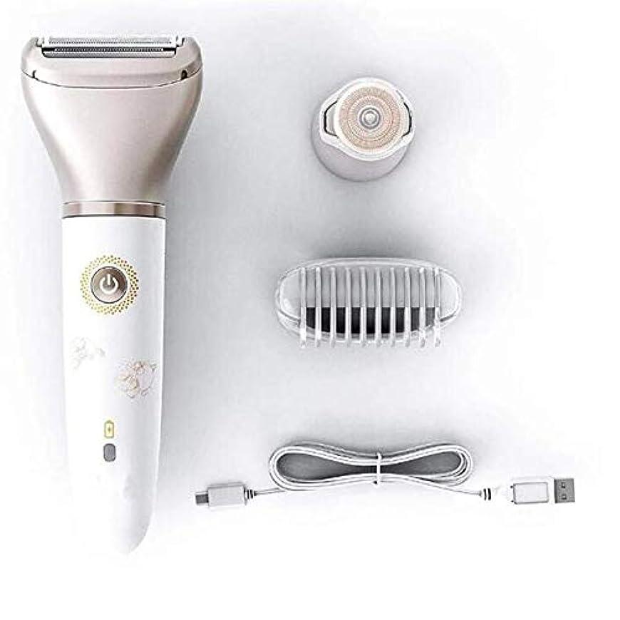 鉛伴うグレー電動レディー脱毛器、痛みのない脱毛器2 in 1ドライおよびウェットコードレス女性用トリマー、ファインフェイシャルボディトリマー