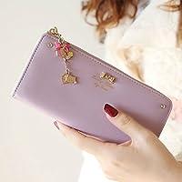 【ノーブランド品】可愛いチャーム付き長財布 レディース KQ-488 (紫)