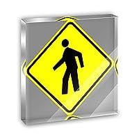 歩行者Crossing BasicイエローRoad SignアクリルOffice MiniデスクプラークオーナメントPaperweight