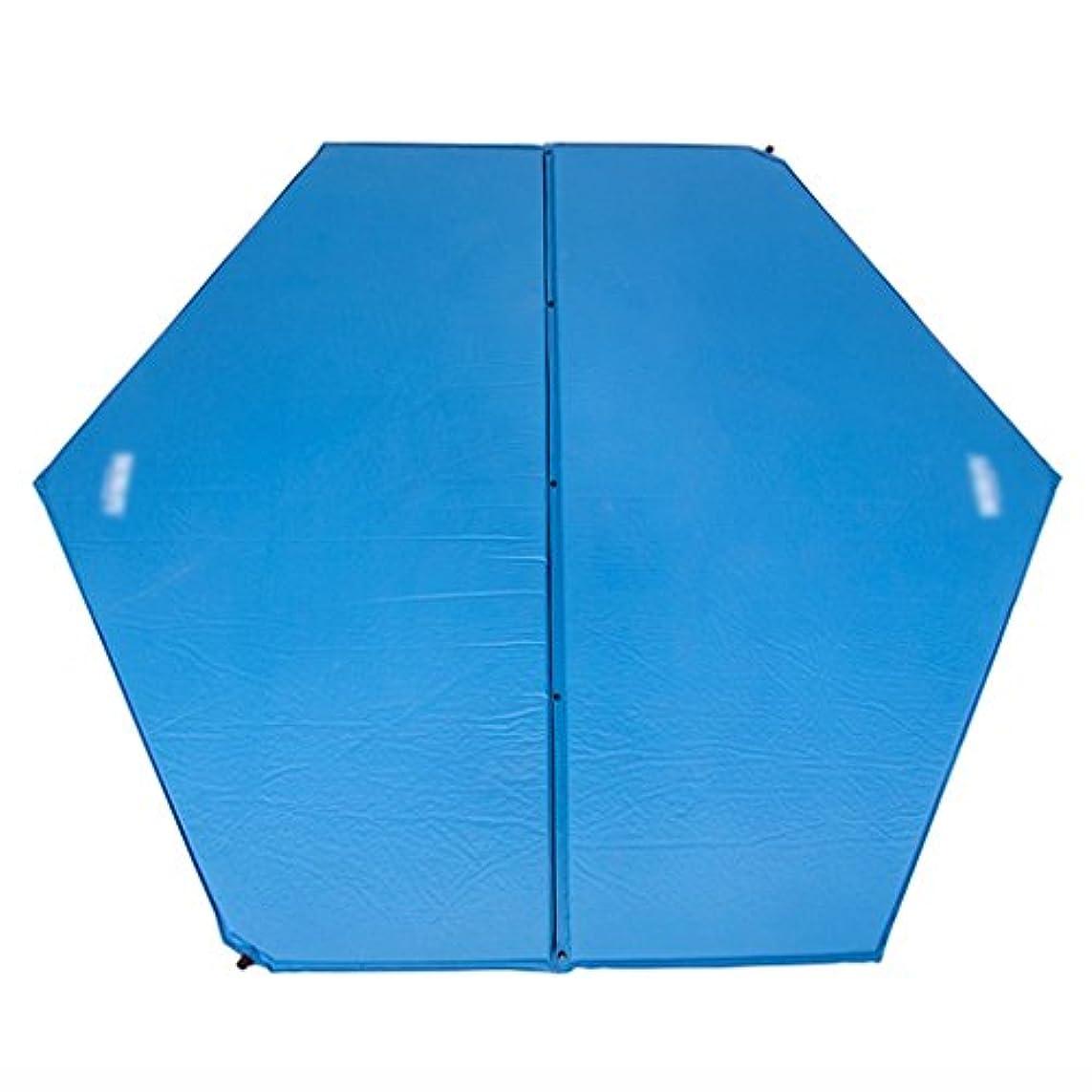 アノイ承認するフェデレーションピクニックマット 自動インフレータブルクッションモイスチャライザーマットピクニックキャンプ屋外テントスリーピングパッドヘキサゴンエアベッドブルー