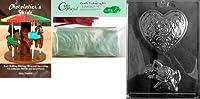 Cybrtraydローズheart-coursage Valentineチョコレート型Chocolatiersバンドル50のチェロバッグと50レッドツイストタイ