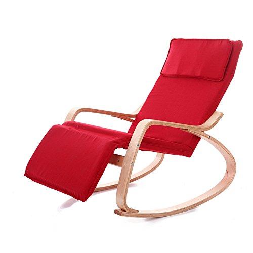 SAKEY ロッキングチェア リラックスチェア 揺れ椅子 5段階調節が可能 曲げ木 北欧風 枕付き ゆらゆらと心地よく揺れ (赤)