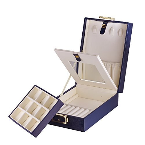 [해외]MBLife 라미네이트 가죽 이단 식 보석 상자 여행용 정리 수납 케이스 (열쇠 거울 포함)/MBLife Laminated Leather Two-Stage Jewelry Box Travel Storage Case (with Key Mirror)