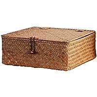 籐のストレージバスケット織物ラタンストレージボックス蓋