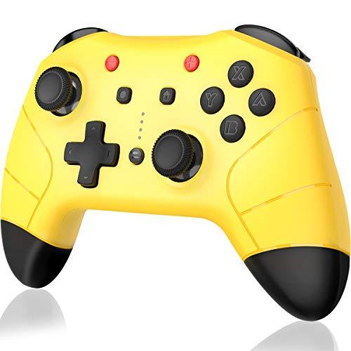 【最新版システム対応】switch コントローラー BEBONCOOL Nintendo switchに対応 Bluetooth接続 ジャイロセンサー 連射機能搭載 switch プロコン 無線4段階振動調整 デュアルショック最新バージョン8.1.0対応 任天堂switch対応スイッチ コントローラー ワイアレス 黄色