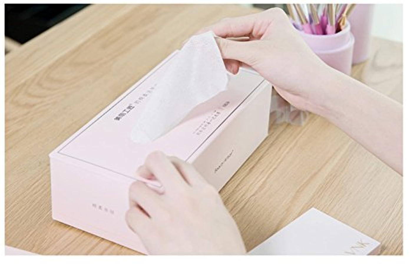 ミュート魅惑する刃Aorunji 柔らかい スーパーソフトピュアコットンティッシュ使い捨てリントフリーコットンパッドティッシュアイメイクアップリムーバー(Appr.100) (色 : Pink)