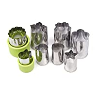 Fruit Vegetable Cutter Shapes Set 8 Pieces Mini Cookie Cutters with Protecting Caps, Vegetable Shape Cutters for Kids including Flower, Bunny Rabbit, Heart, Star, Mickey Shapes by Smiful (Green)
