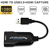 HDMI Capture, HDMI to USB 3.0 Video Capture Card Full HD 1080P Video Capture Game Capture Recording Box, Plug and Play