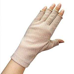 (Rarihima) UV カット 手袋 指切り ショート レディース 日焼け 防止 紫外線カット ドット柄 コットン 100% (ベージュ)