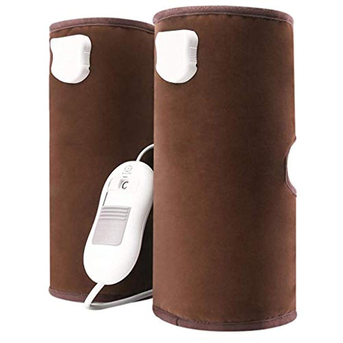 ラップ隣人研磨循環と筋肉の痛みを軽減するための電熱膝パッド空気圧縮脚マッサージ、(青、赤、茶色)父の日ギフト,Brown
