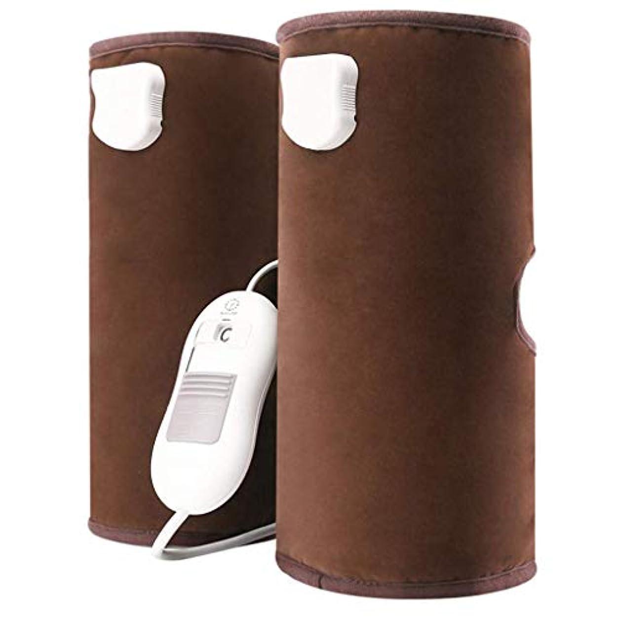 レベル付添人疎外循環と筋肉の痛みを軽減するための電熱膝パッド空気圧縮脚マッサージ、(青、赤、茶色)父の日ギフト,Brown