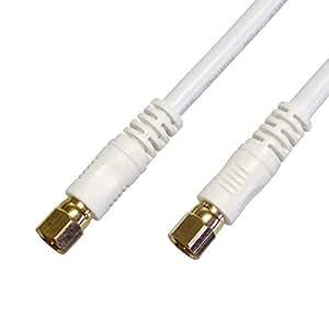 [フジパーツ] [4重シールド]BS CS 地上デジタル対応 S5CFB 同軸ケーブル S5CFB 5Cアンテナケーブル 3m 白 F型コネクター(ねじ式)-F型コネクター(ねじ式)/WFF5C-30 3m