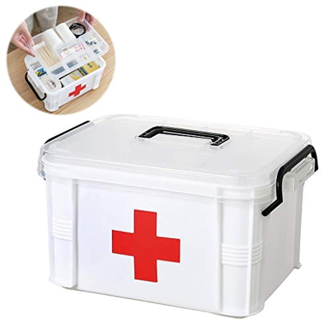 算術トーン発動機HLD 家庭医学ボックス医学ストレージボックス大規模な階層化パーティションの透明なポータブル家族小ファーストエイドキット 救急箱