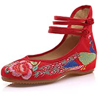 Aiweijia Women's Embroidery Dancing Comfortable Flats Dress Shoes for Cheongsam