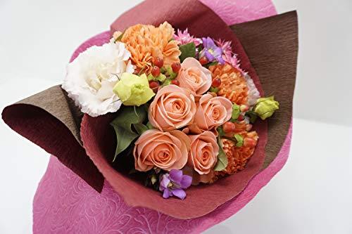 『指定日配達可能』5本のバラと季節のお花のリボンブーケ ギフト アレンジメント お花