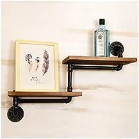 レトロ水パイプラック、リビングルームの壁の壁の本棚、鉄のラック、寝室の壁のフラワーラック、装飾的なディスプレイスタンド